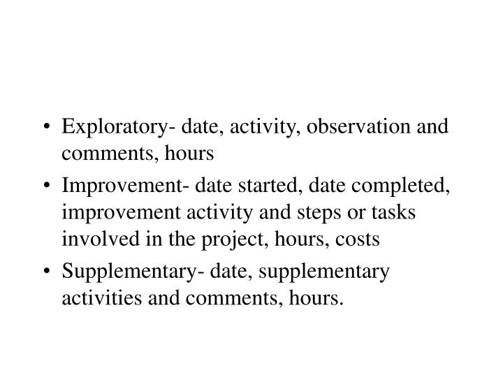 Exploratory- date, activity, observation and comments, hours