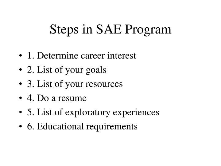 Steps in SAE Program