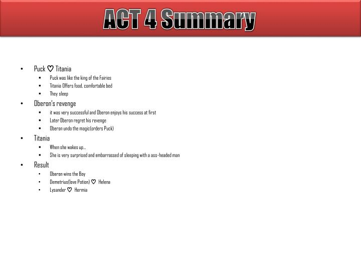 ACT 4 Summary