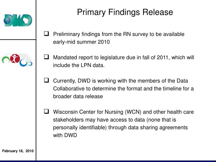Primary Findings Release