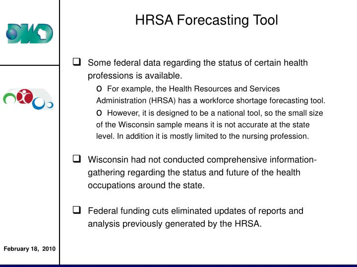 HRSA Forecasting Tool