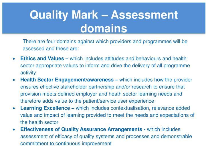 Quality Mark – Assessment domains