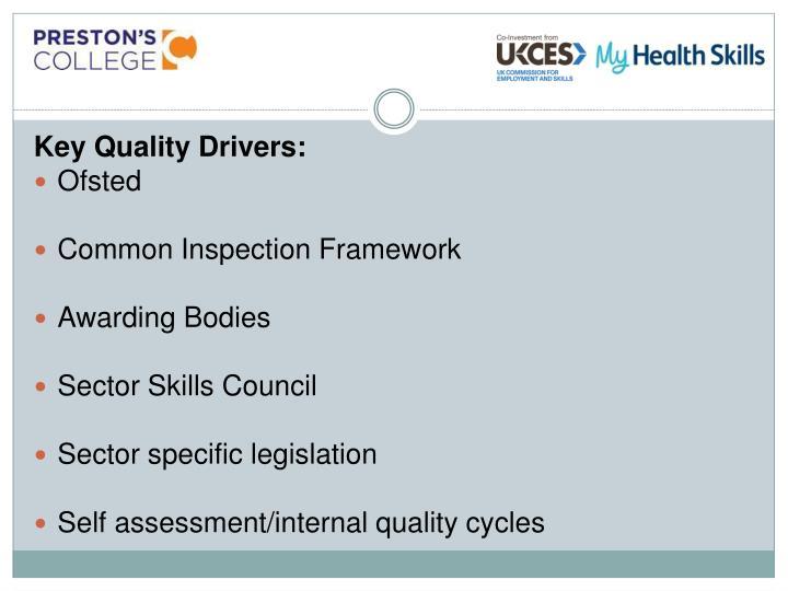 Key Quality Drivers: