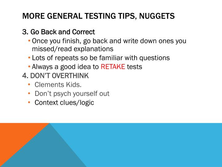 More general testing tips, nuggets