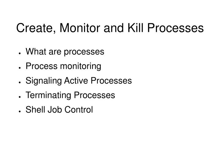 Create, Monitor and Kill Processes