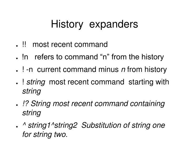 History  expanders
