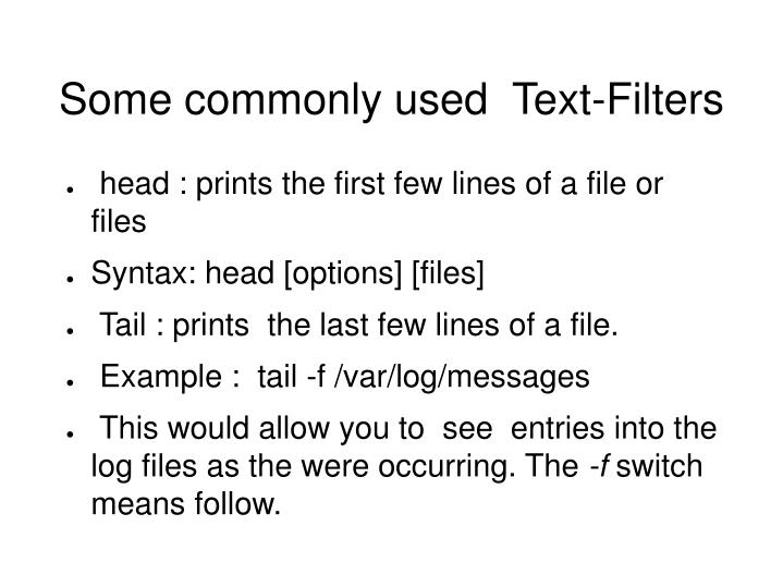 Some commonly used  Text-Filters