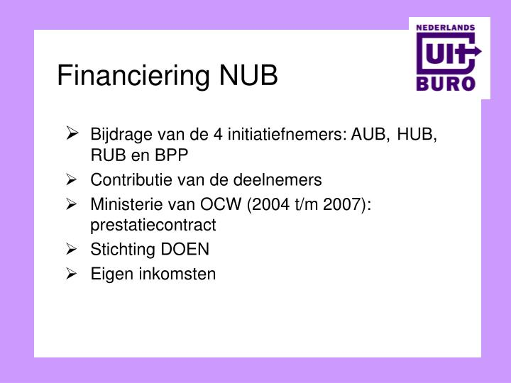 Financiering NUB