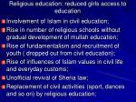 religious education reduced girls access to education