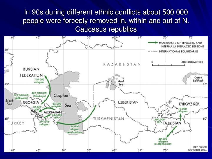 In 90s during different ethnic conflicts about 500 000 people were forcedly removed in, within and out of N. Caucasus republics