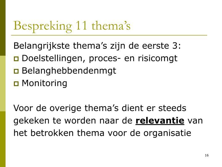 Bespreking 11 thema's