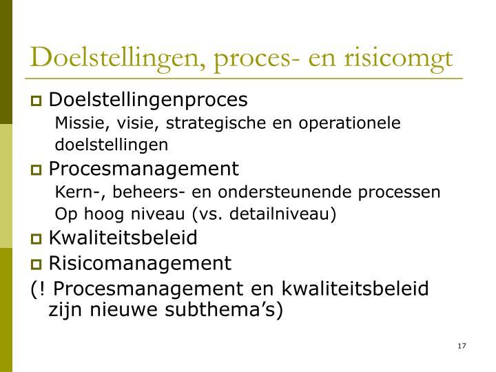 Doelstellingen, proces- en risicomgt