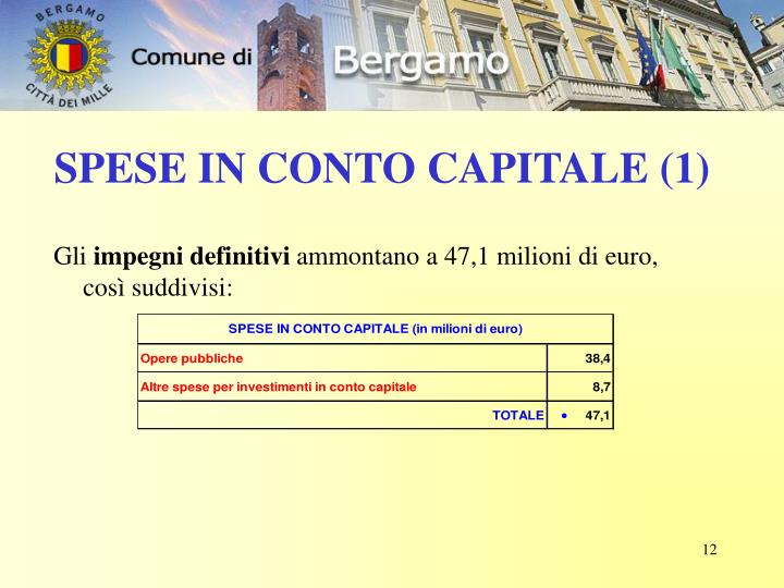 SPESE IN CONTO CAPITALE (1)