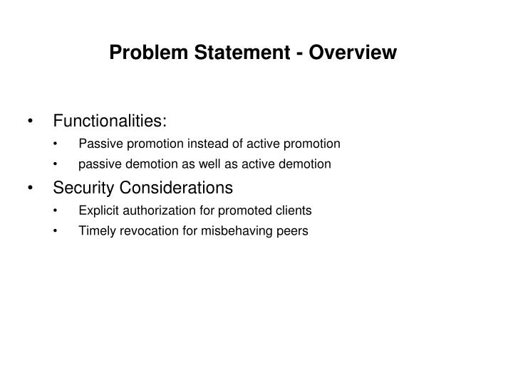 Problem statement overview