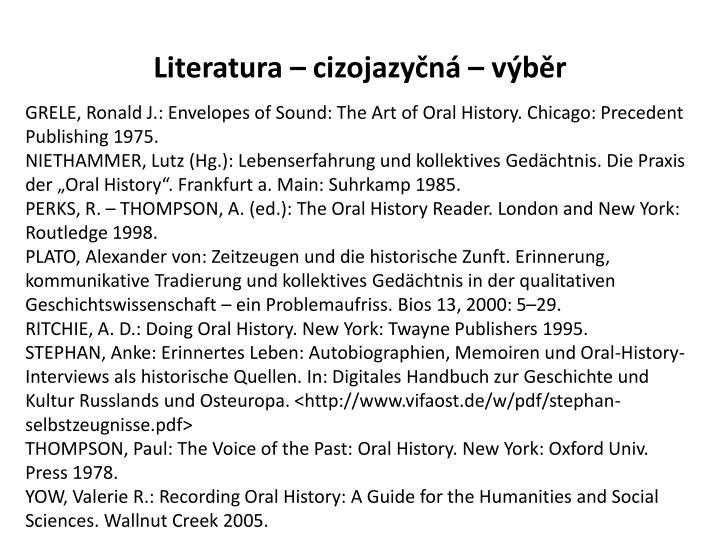 Literatura – cizojazyčná – výběr