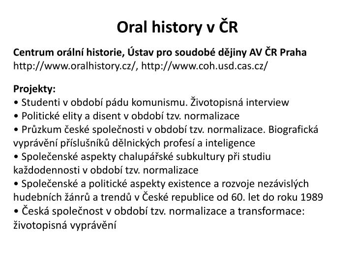 Oral history v ČR