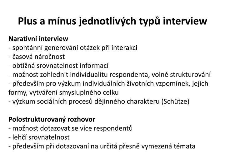 Plus a mínus jednotlivých typů interview