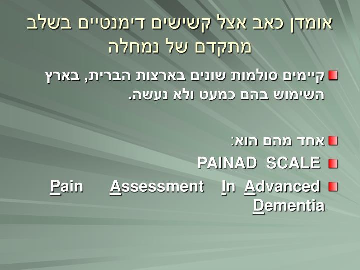 אומדן כאב אצל קשישים דימנטיים בשלב מתקדם של נמחלה