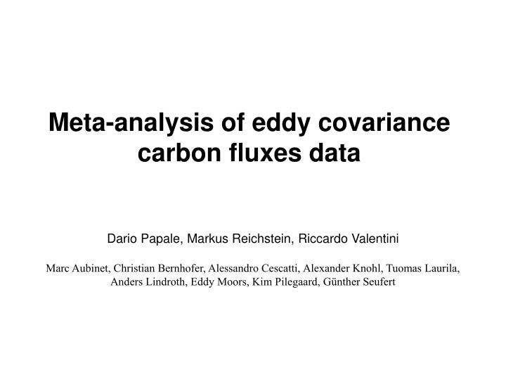 Meta-analysis of eddy covariance carbon fluxes data