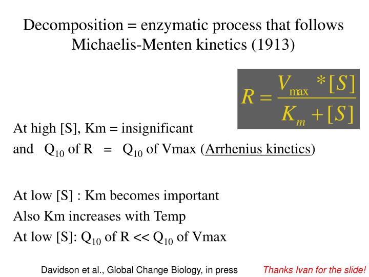 Decomposition = enzymatic process that follows Michaelis-Menten kinetics (1913)