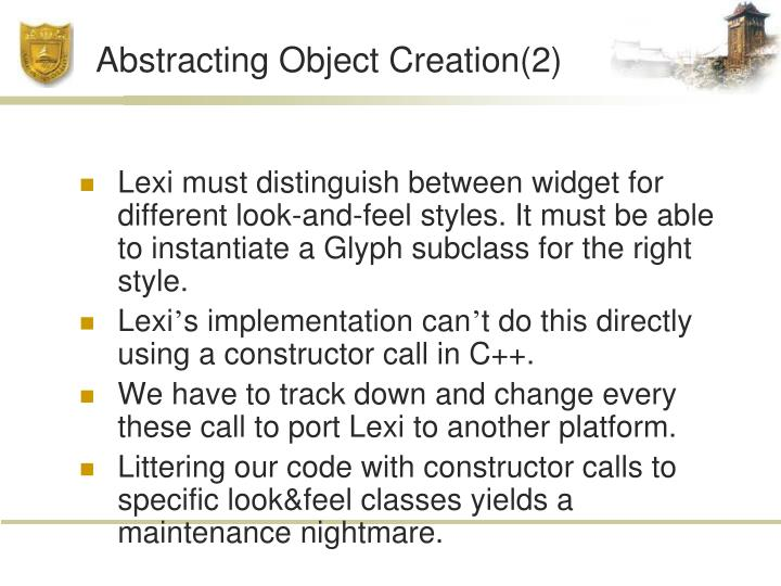 Abstracting Object Creation(2)