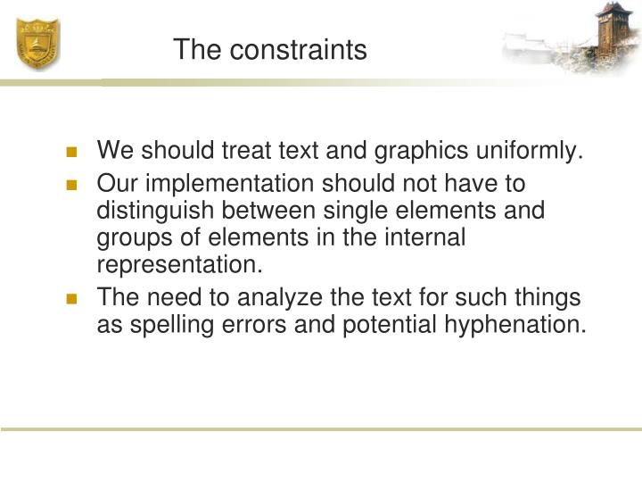 The constraints