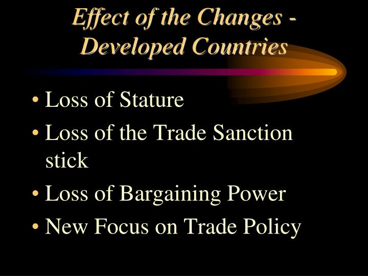 Effect of the Changes -