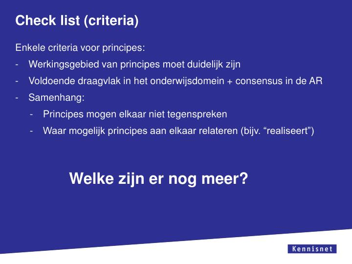 Check list (criteria)