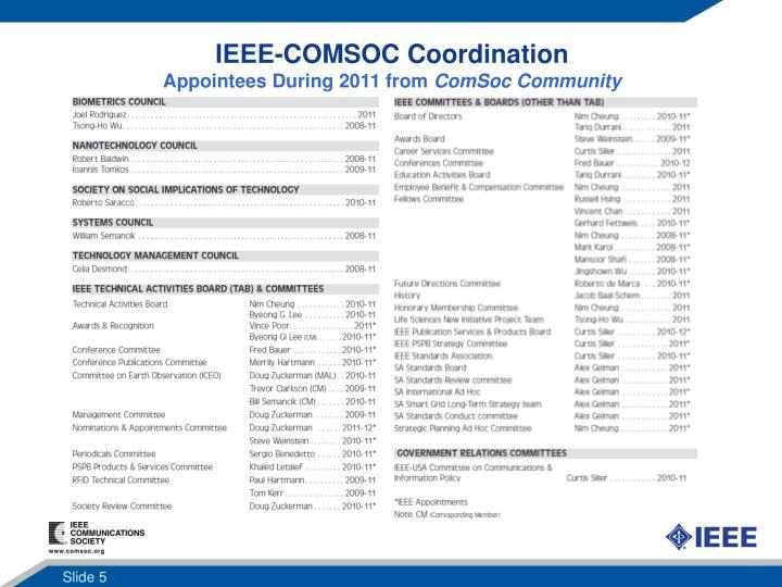 IEEE-COMSOC Coordination