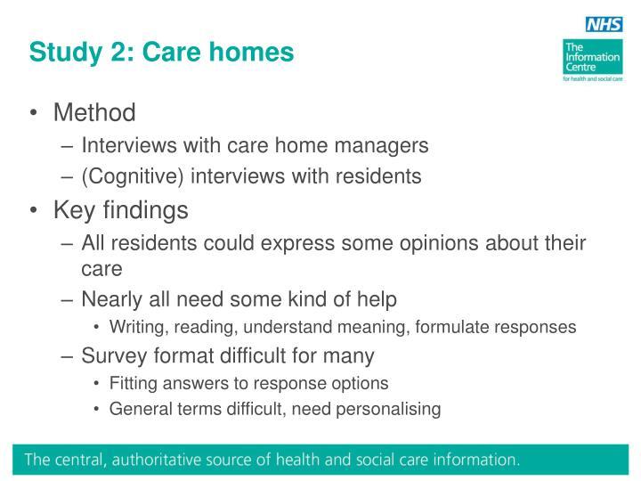 Study 2: Care homes