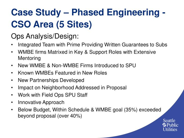 Case Study – Phased Engineering - CSO Area (5 Sites)