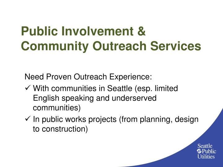 Public Involvement & Community Outreach Services