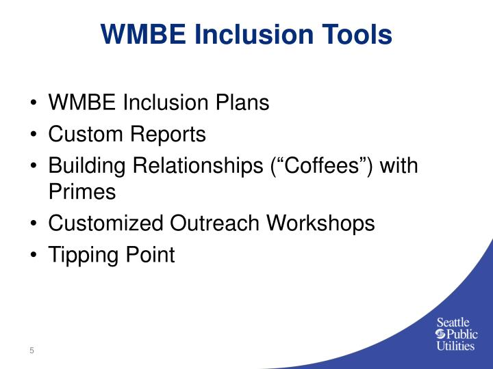WMBE Inclusion Tools