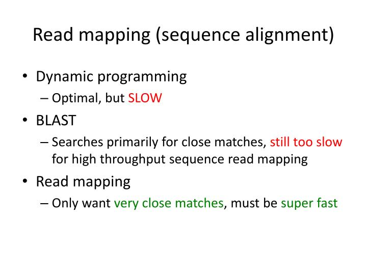 Read mapping (sequence alignment)