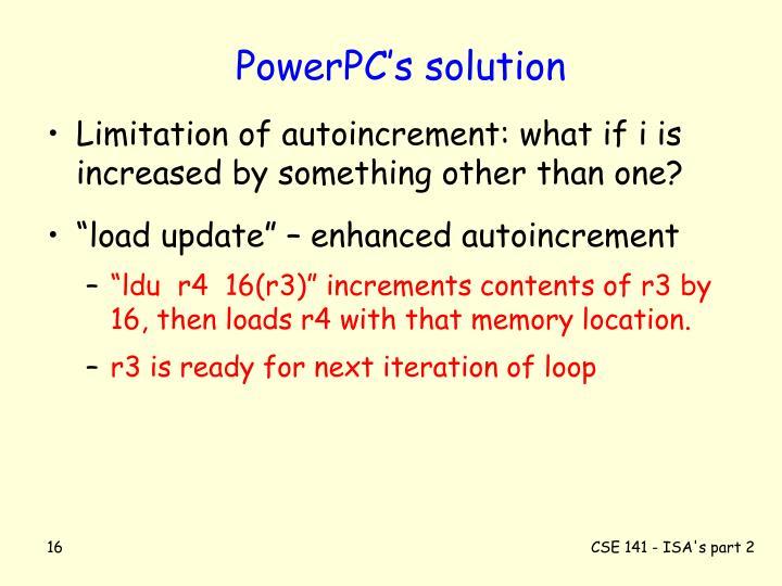 PowerPC's solution
