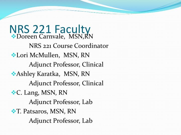 NRS 221 Faculty