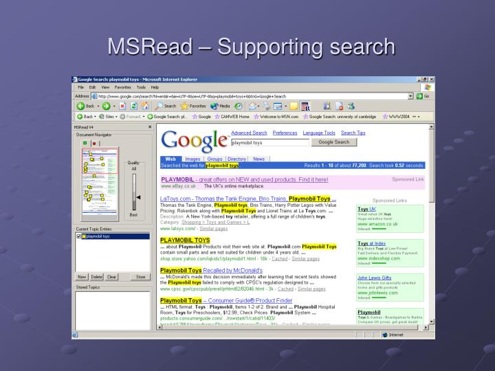 MSRead – Supporting search