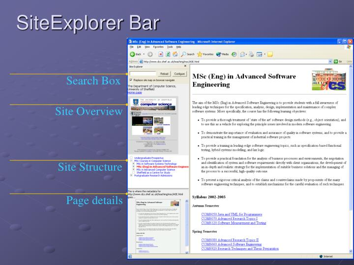 SiteExplorer Bar
