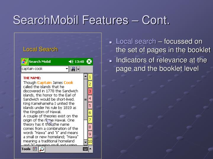 SearchMobil Features – Cont.