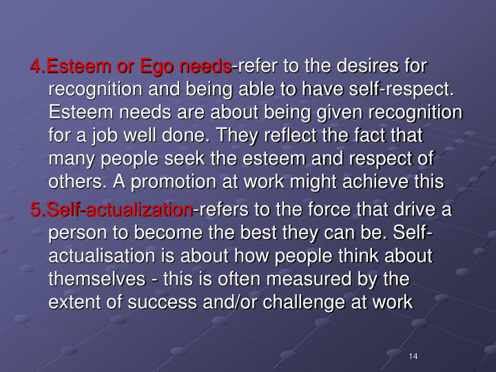4.Esteem or Ego needs