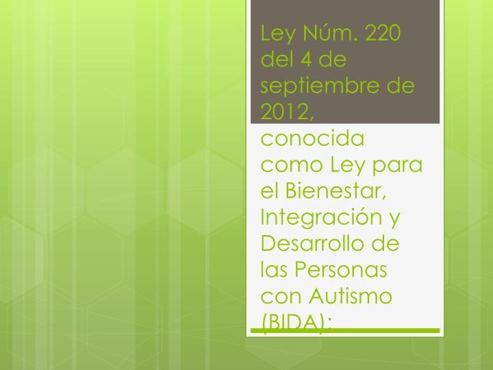Ley Núm. 220 del 4 de septiembre de 2012,