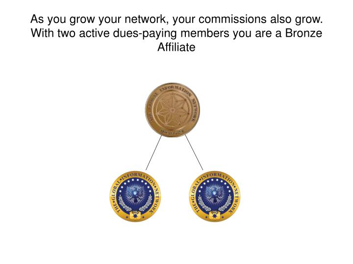 As you grow your network, your commissions also grow.