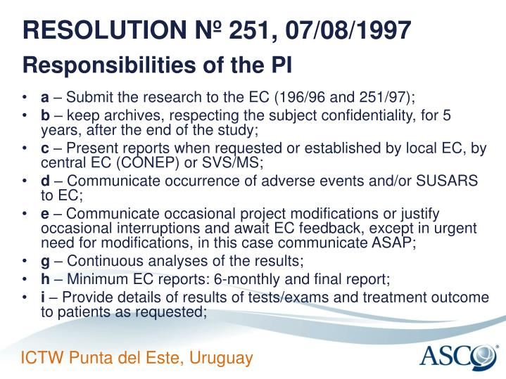 RESOLUTION Nº 251, 07/08/1997
