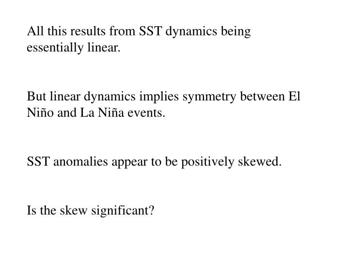 All this results from SST dynamics being essentially linear.