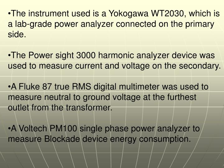 The instrument used is a Yokogawa WT2030, which is a lab-grade power analyzer connected on the primary side.