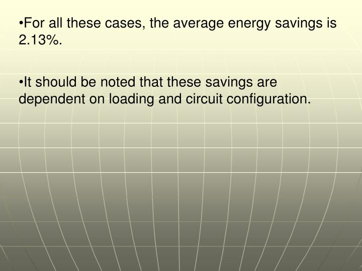 For all these cases, the average energy savings is 2.13%.
