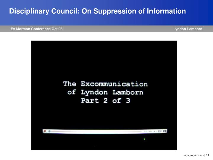 Disciplinary Council: On Suppression of Information