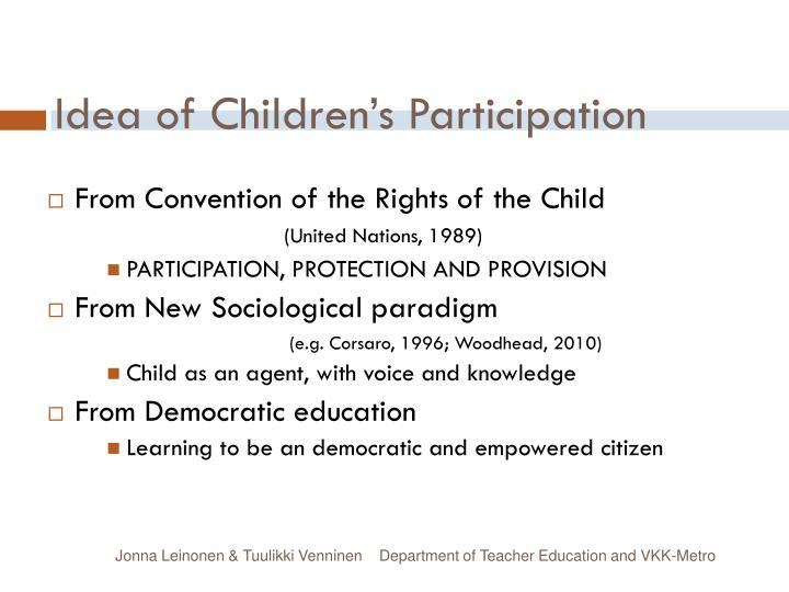 Idea of Children's Participation