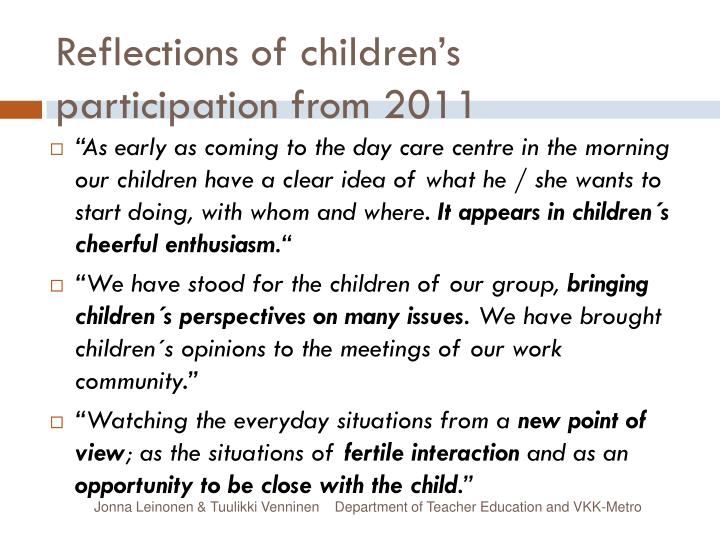 Reflections of children's participation from 2011