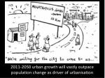 2011 2050 urban growth will vastly outpace population change as driver of urbanisation